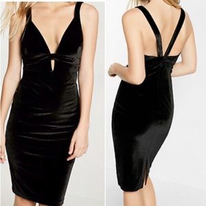 Express Black Plunge Keyhole Velvet Bodycon Dress